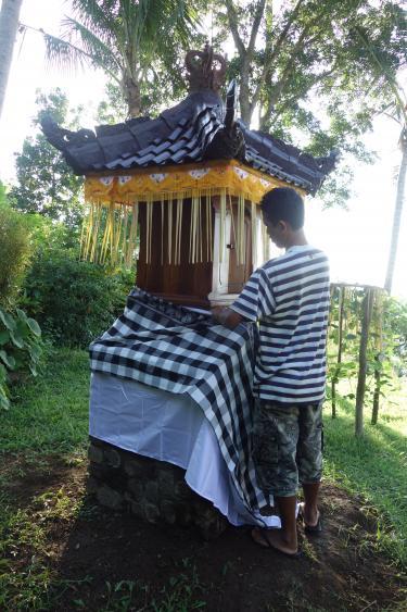 Afb. 1: Tempelschrijn gehuld in feestkleding; Bali, Budakeling, 2016. Fotograaf: Francine Brinkgreve