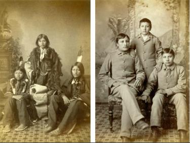 Drie Sioux-studenten toen ze in 1883 aankwamen op de Carlisle Indian School (links) en dezelfde jongens 3 jaar later (foto's: Cumberland County Historical Society, Carlisle, V.S.)