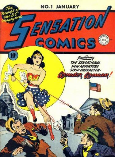 """Voorkant van een Wonder Woman comic book / stripboek van D.C. Magazines. Op de voorkant staat: """"Sensation Comics featuring the sensational new adventure strip character Wonder Woman!""""."""