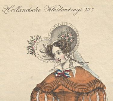 Euphrosyne: tijdschrift voor de Hollandsche kleeding, 1832, nr. 6, plaat no. 7, collectie Koninklijke Bibliotheek.