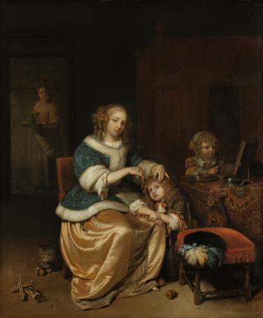 Caspar Netscher, Moederzorg, 1669. Een moeder kamt liefdevol het haar van haar kind.; Beleeft het verleden, Verborgen dracht in schijnwerpers, benenkam, kam, ivoor, koeienbot, hondenbot, replica, namaken, reenactment