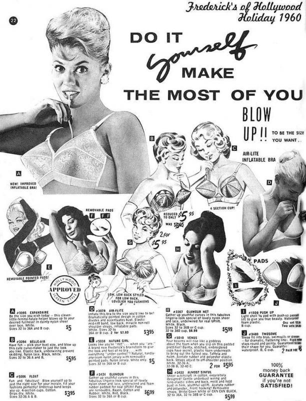 Opblaasbare BH advertentie, ca. 1960, Frederick's of Hollywood Holiday. Bron: Pinterest.