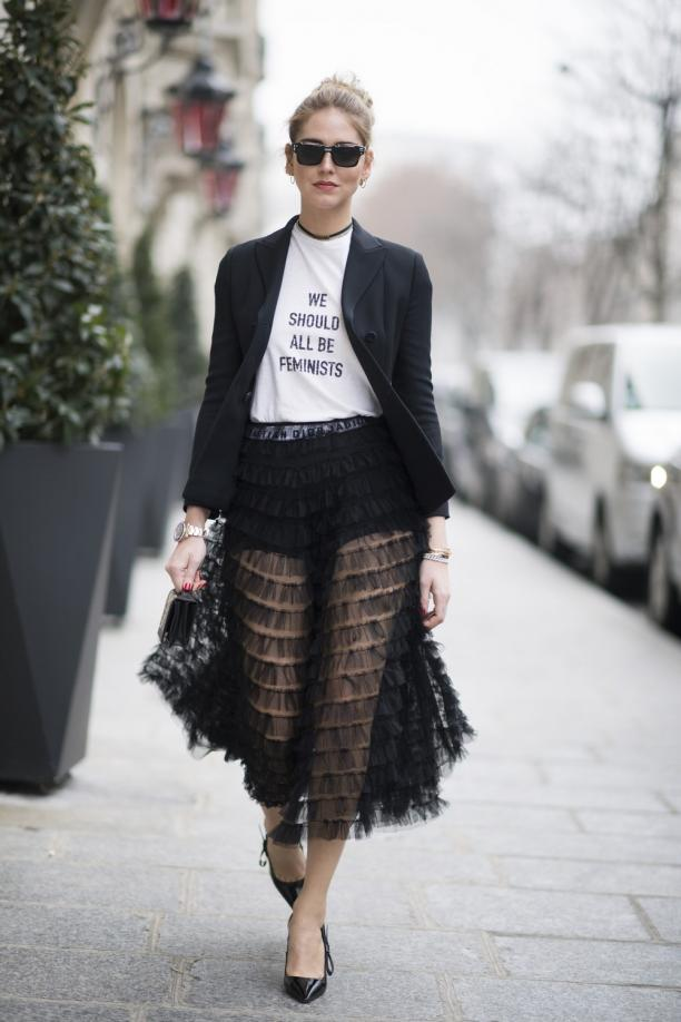 Chiara Ferragni, in Dior 'We should all be Feminists', via: theblondesalad.com