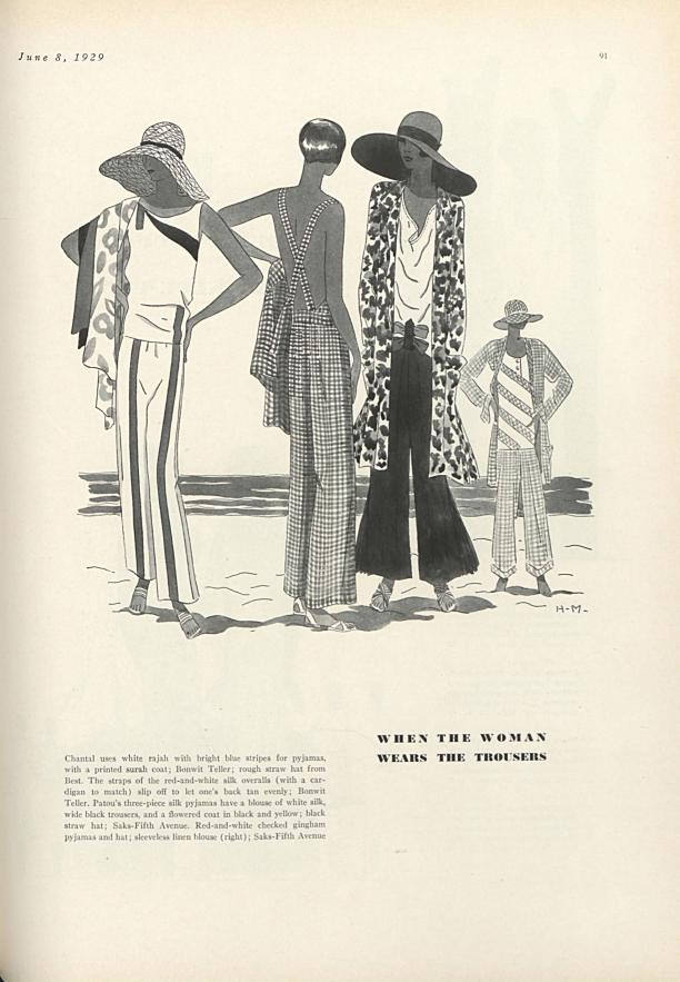 'When the woman wears the trousers', Amerikaanse Vogue, 8-6-1929, p.91