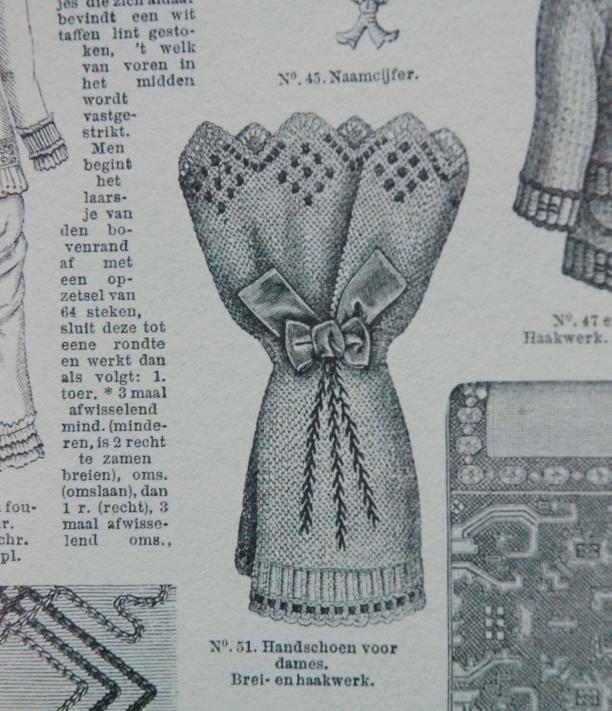 vingerloze handschoen met strik en manchet, breiwerk
