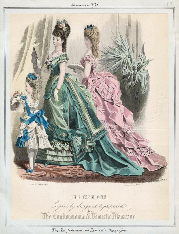 'The Fashions', modeprent uit 'The Englishwoman's Domestic Magazine', januari 1875. Ingezonden door: Sanne Ramakers.