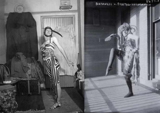 Elsa von Freytag-Loringhoven's Body Performance Poem in her Greenwich Village Studio, December 1915. Foto: International News Photography, Bettman/ Corbis/Magma en Baroness v. Freytag- Loringhoven. Foto: George Grantham Bain Collection, Library of Congres