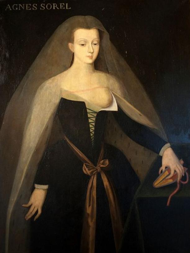 Francois Clouet, Portret d'Agnes Sorel (1422-1450), collectie Chateau de Loches. Bron: Google Arts & Culture.