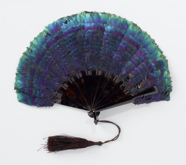 Waaier met iriserende glansfazant veren, kunststof, zijde en staal, Frankrijk, ca. 1900-1910, Rijksmuseum, Schenking van B. Ariëns Kappers-von Hunteln.