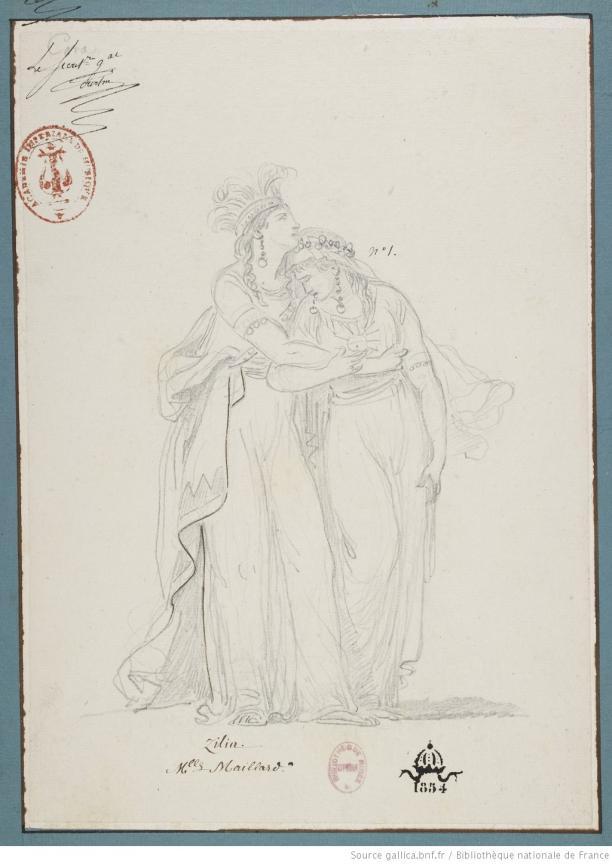 Blog Modemuze Fleur Dingen. Afb. 5. Jean-Simon Berthélémy, Kostuumontwerp voor ballet Cora, 1791, tekening, 303 x 218 mm, Bibliothèque nationale de France, Parijs. ©