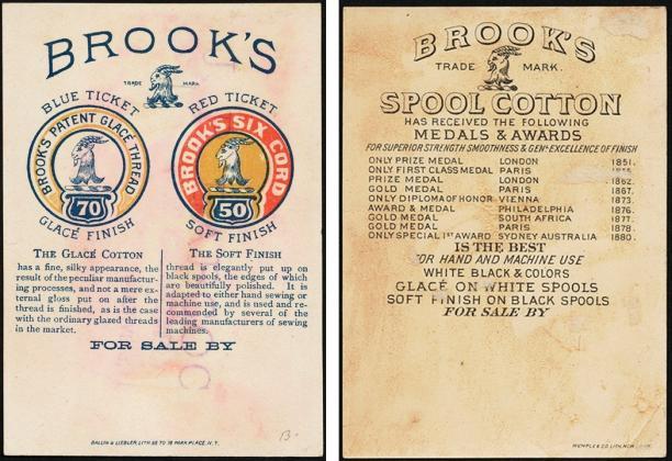 Twee etiketten van de firma Brook's