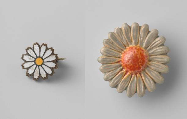Anoniem, twee Margriet broches, 1943. Collectie Rijksmuseum (BK-2010-2-432-3 en 434)