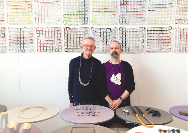 Paul Derrez (rechts) en Willem Hoogstede tijdens Rotterdam Contemporary in 2016